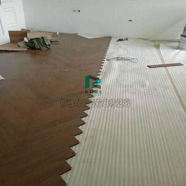 Thi công sàn gỗ xương cá