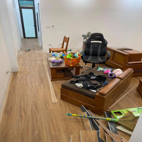 Sàn nhựa giả gỗ khi hoàn thiện